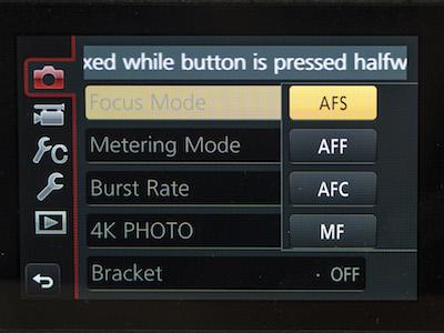Focus modes on GX85