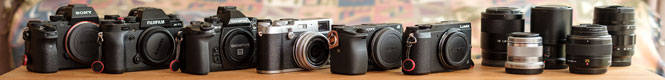 Various mirrorless cameras side by side