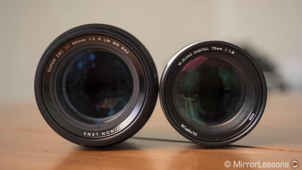 fuji 90mm vs olympus 75mm