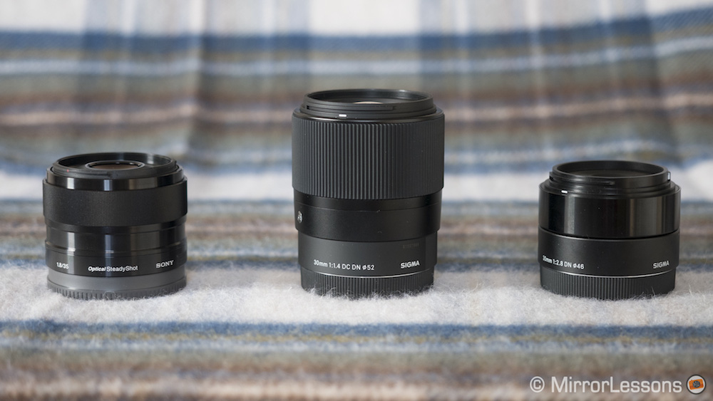 Sony 35mm f/1 8 vs  Sigma 30mm f/1 4 DC DN vs  Sigma 30mm f/2 8 DN A