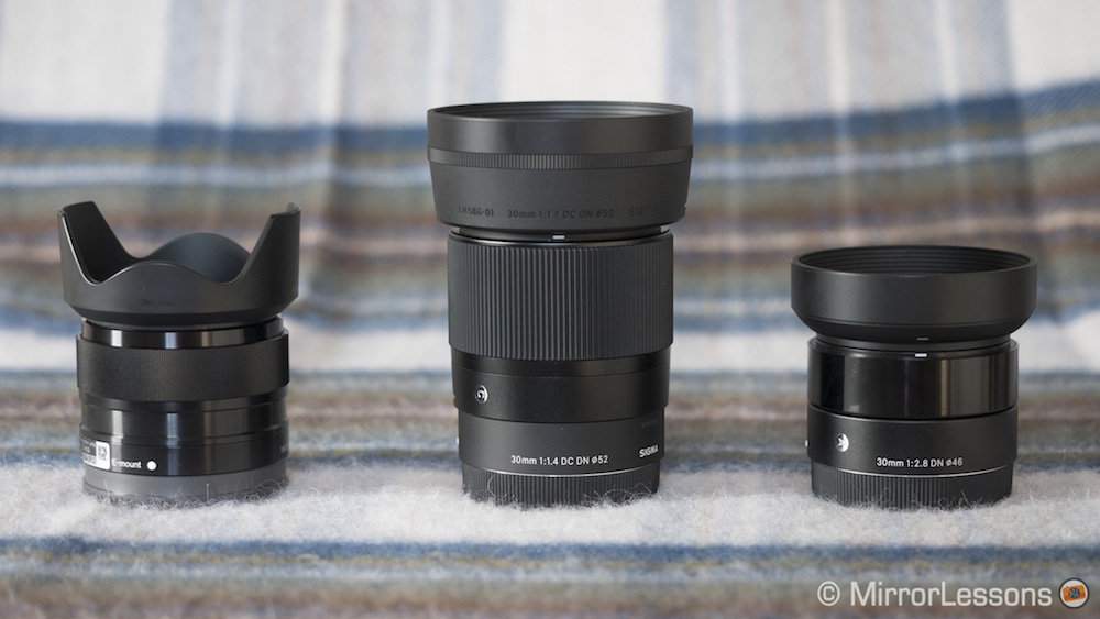 Sony 35mm f/1 8 vs  Sigma 30mm f/1 4 DC DN vs  Sigma 30mm f