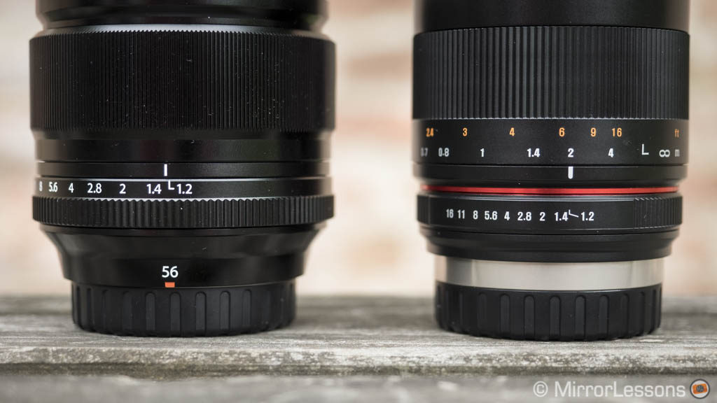 samyang 50mm vs fujifilm 56mm