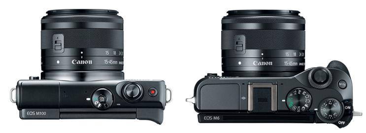 canon eos m100 vs m6 top