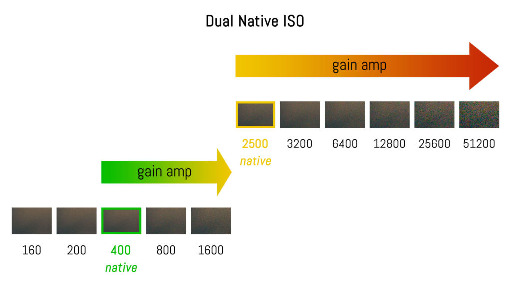 graphic illustration showing the gain amplification with dual native ISO