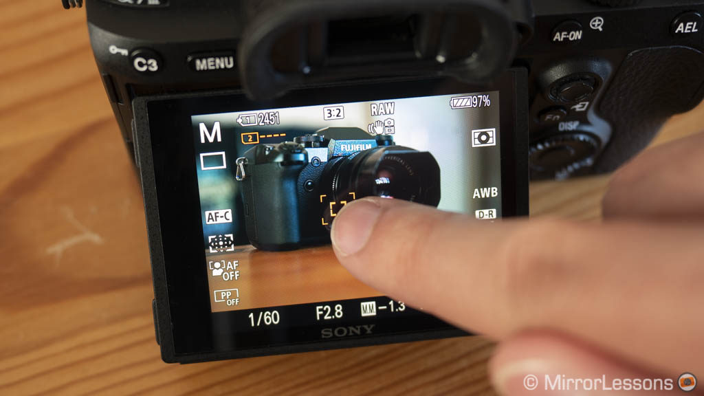 touch screen operation on the a7 iii