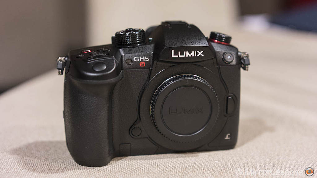 front view of the Panasonic GH5S with sensor cap attached