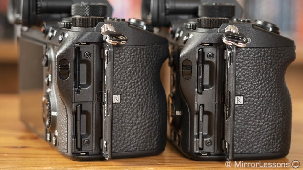 sony a7iii and a7riii, side view with memory card slots open