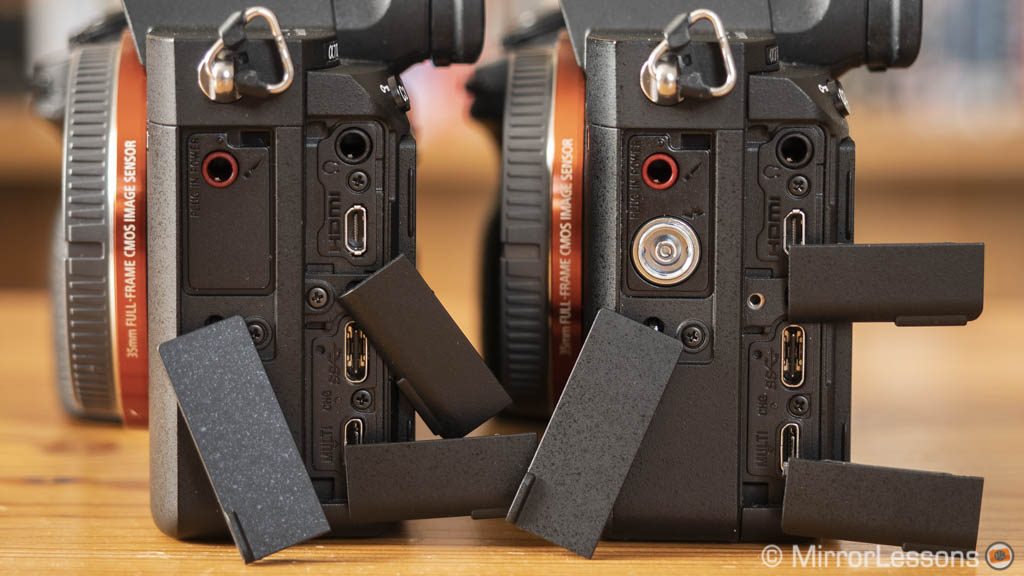 sony a7iii and a7riii, side view with connection ports