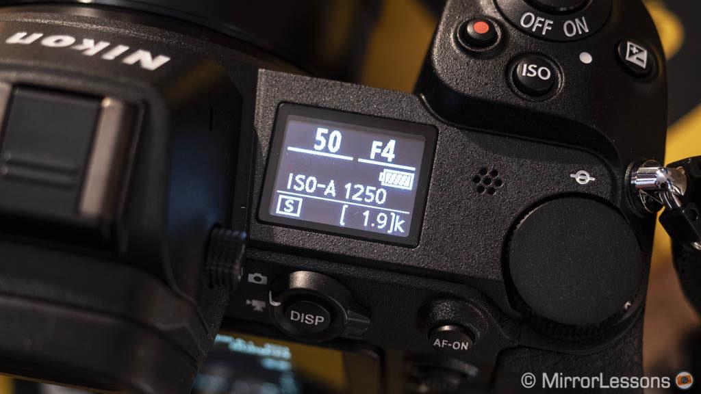 top lcd screen on the Nikon Z6