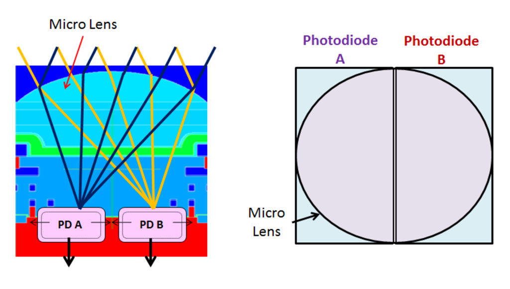 illustration of the Canon dual pixel cmos af showing the two photodiodes