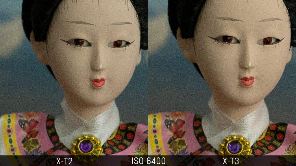 Side by side crop of a Japanese doll taken in low light