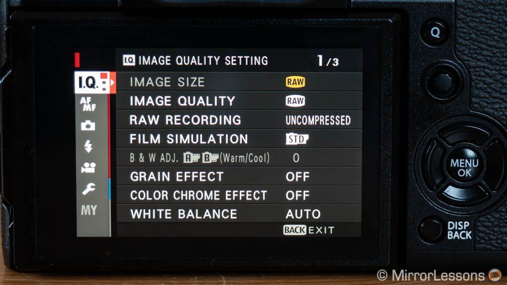 fujifilm menu system