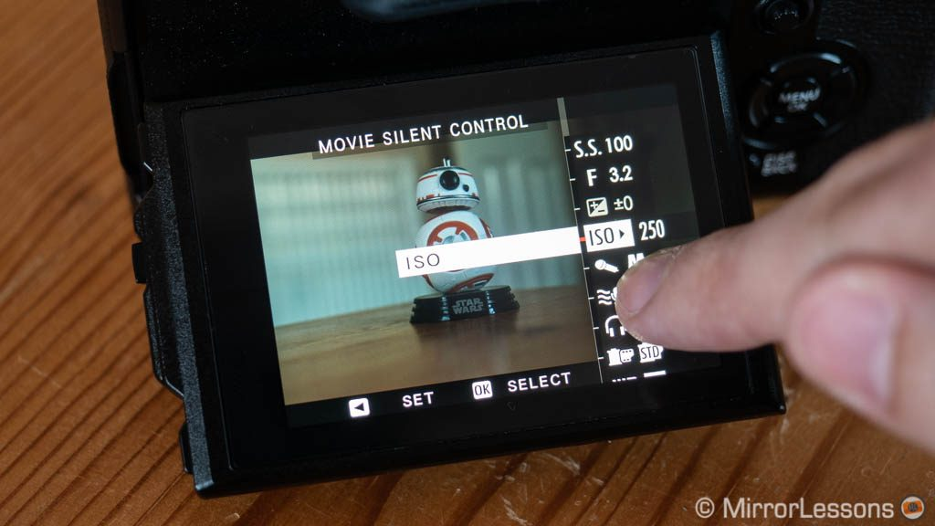 The movie silent control option in the X-T3 menu