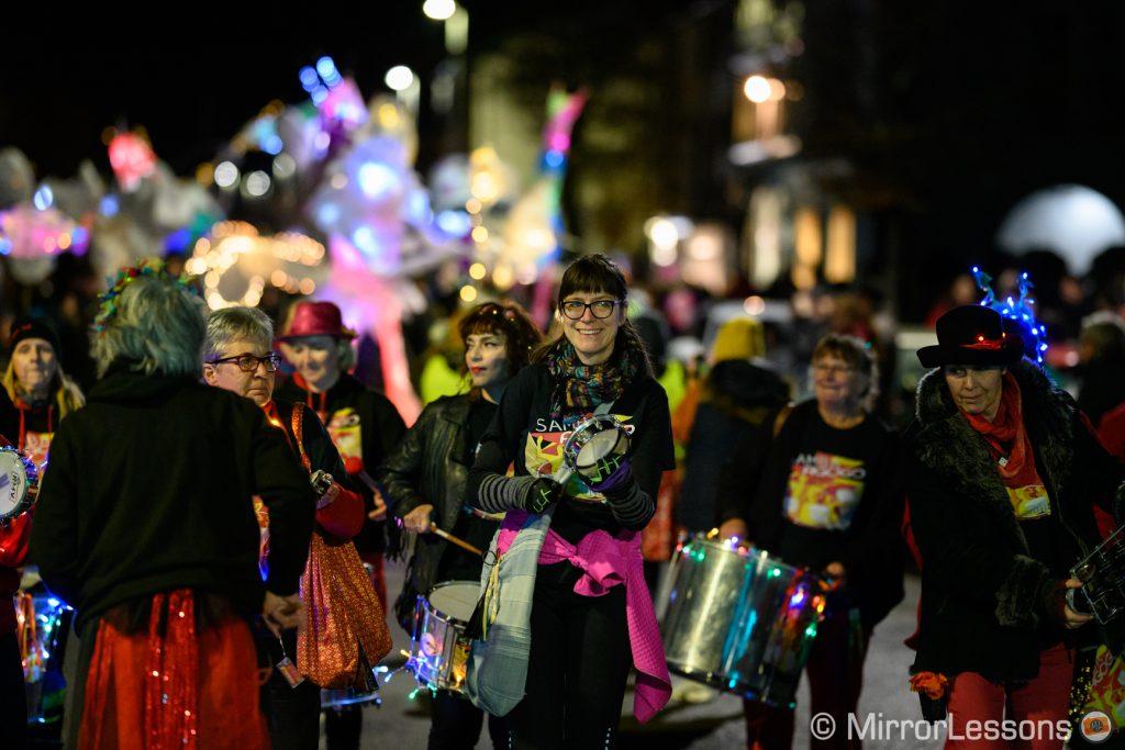 lantern parade in high street at night