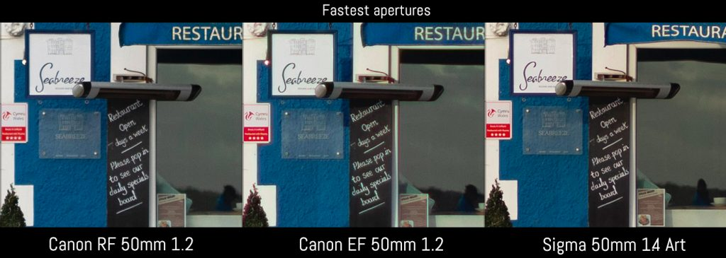 canon rf 50mm 1.2 vs ef 50mm 1.2 vs sigma art
