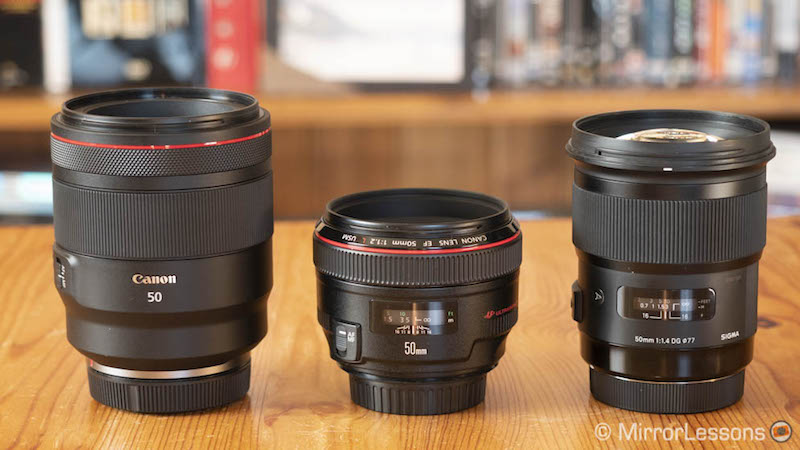 canon rf 50mm 1.2 vs ef 50mm 1.2 vs sigma 50mm 1.4 art