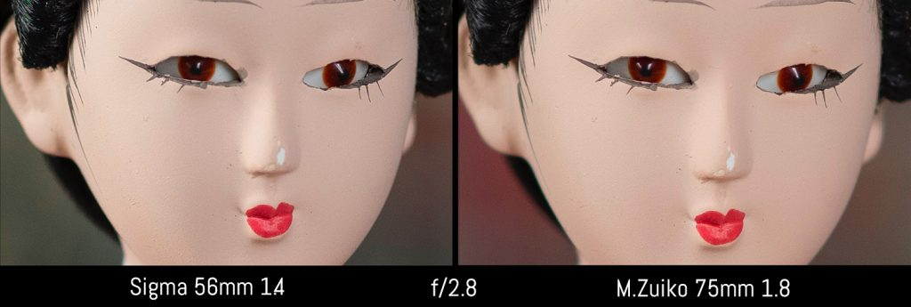 sigma 56mm 1.4 vs olympus 75mm 2.8