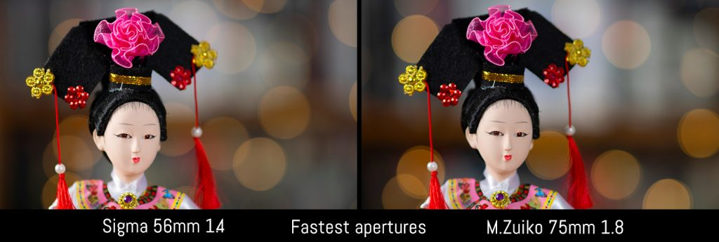 sigma 56mm vs oly 75mm bokeh fastest