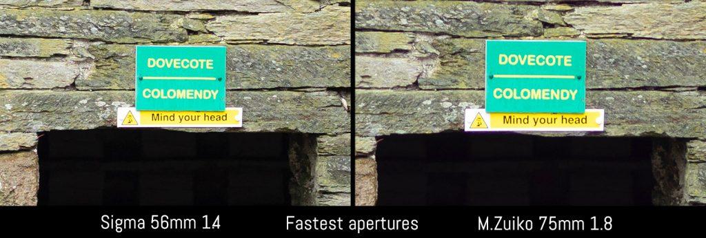 sigma 56mm vs olympus 75mm fastest apertures