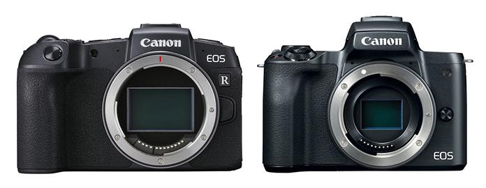 canon eos rp vs m50 front