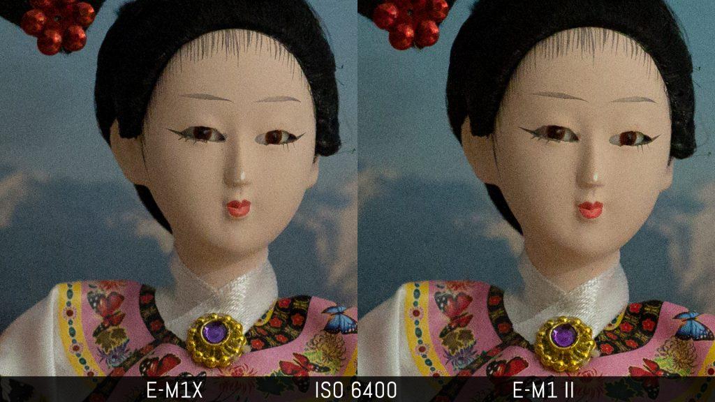 An image comparing the E-M1x and E-M1 II at ISO 6400
