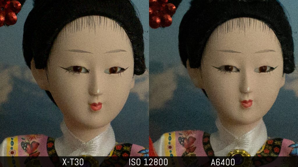 comparison of an image taken at 12800 ISO