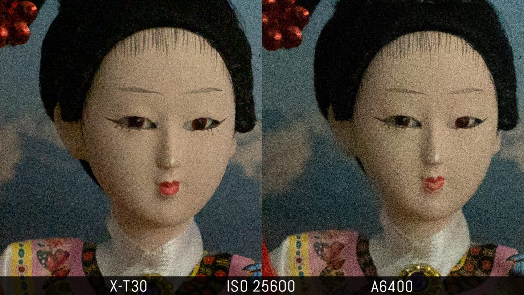 comparison of an image taken at 25600 ISO