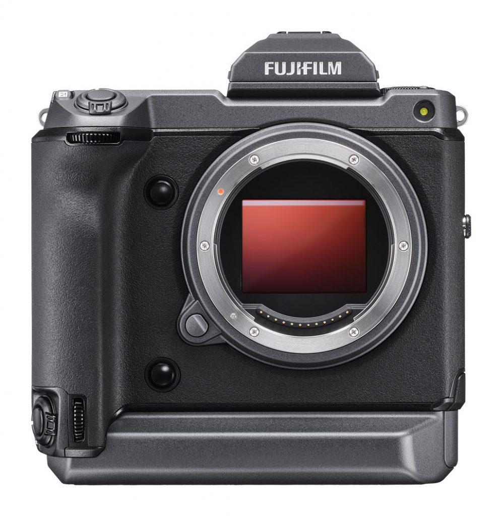 Fujifilm GFX100 on white background, front view