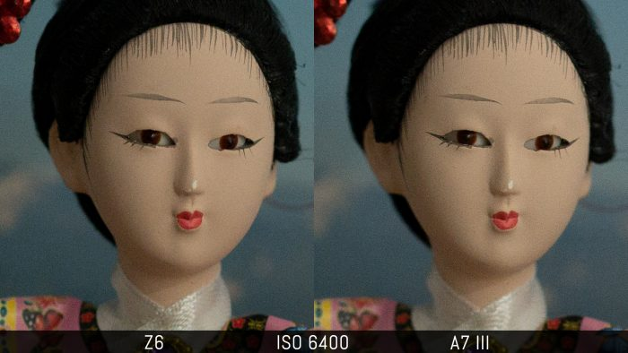 side by side crop of an image shot at ISO 6400, showing the difference in noise level with the RAW files