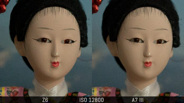 side by side crop of an image shot at ISO 12800, showing the difference in noise level with the RAW files