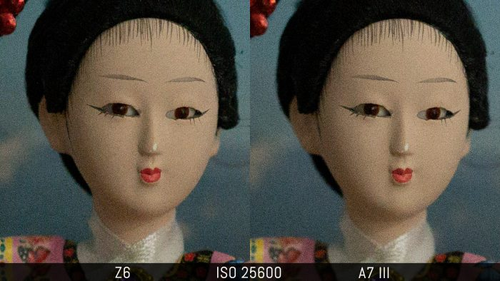 side by side crop of an image shot at ISO 25600, showing the difference in noise level with the RAW files