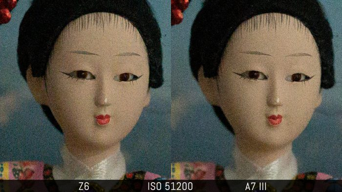 side by side crop of an image shot at ISO 51200, showing the difference in noise level with the RAW files