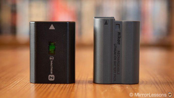 Sony NP-FZ100 next to Nikon EN-EL15 battery