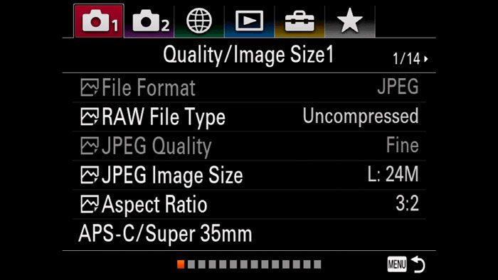 screenshot of the A7 3 menu system
