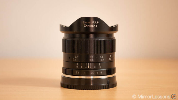7artisans 12mm F2.8 on a wooden table