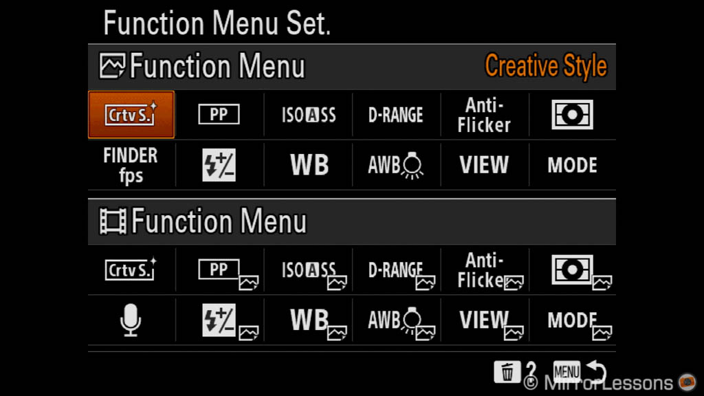 the function menu set menu