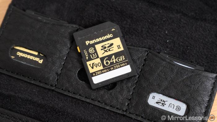 Panasonic UHS-II SD card on black leather card holder
