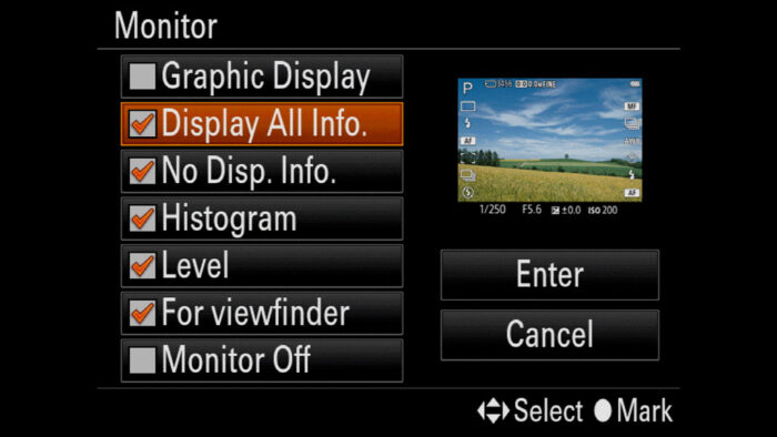 sony a7 iii display settings