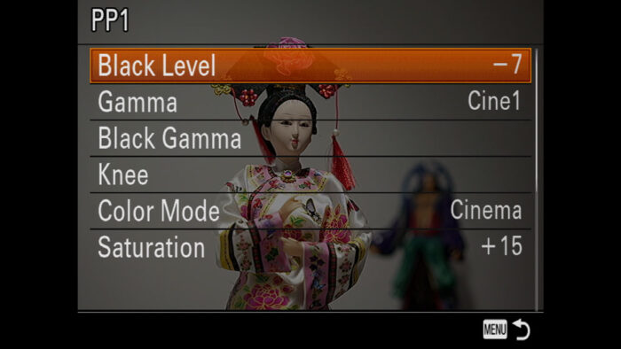 Picture Profile settings in the Sony menu