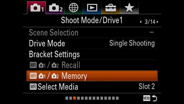 sony a7iii memory settings