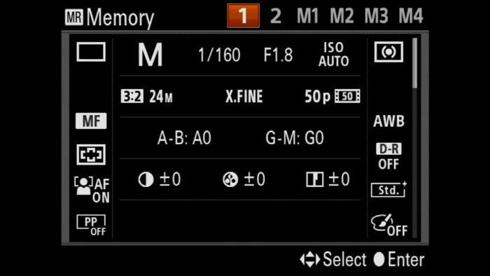 sony a7 iii memory settings