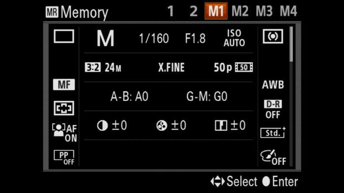 sony a7r iii memory settings
