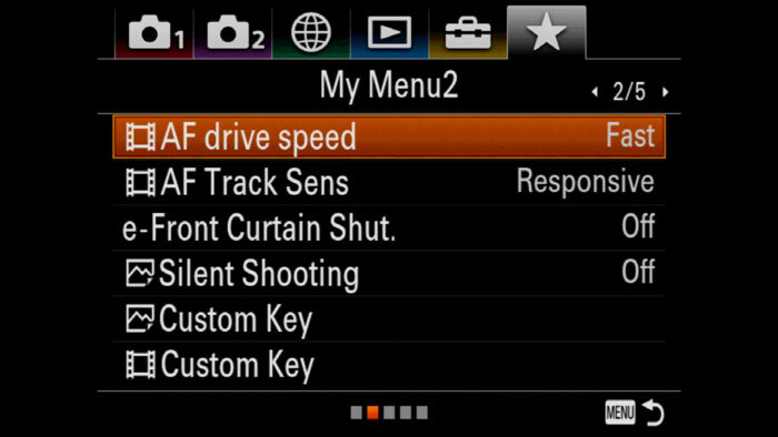 sony a7riii custom setting