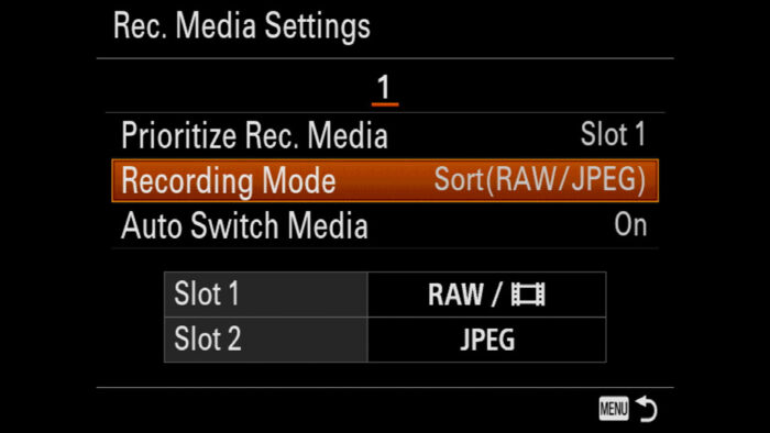 sony a7 iii dual card slot set up