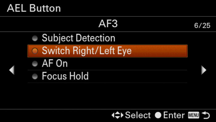 sony a7iii eye focus setting