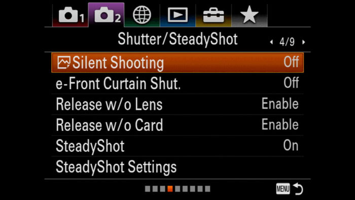 silent shooting setting on a7 3 menu