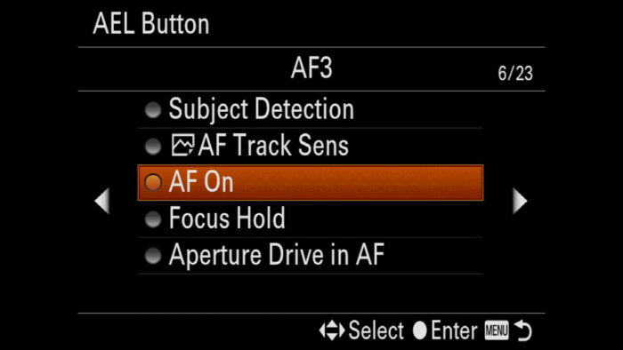 sony a7 iii af on button