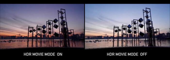 Images comparing HDR movie mode on and off