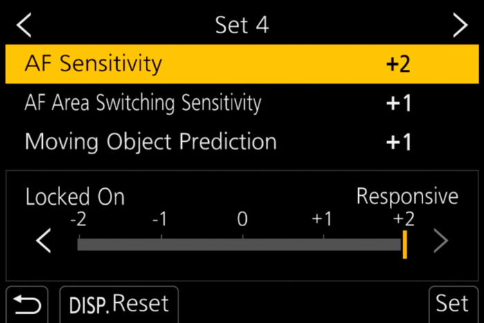 The AF sensitivity menu
