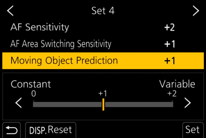 The moving object prediction option in the menu